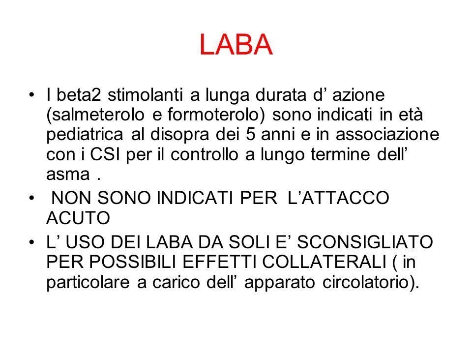 LABA I beta2 stimolanti a lunga durata d' azione (salmeterolo e formoterolo) sono indicati in età pediatrica al disopra dei 5 anni e in associazione c