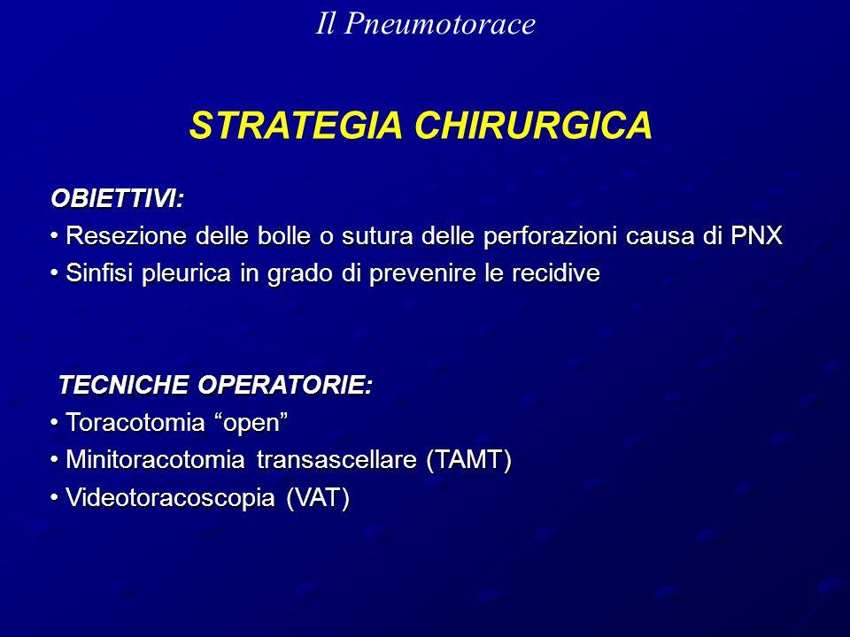 Il Pneumotorace STRATEGIA CHIRURGICA OBIETTIVI: Resezione delle bolle o sutura delle perforazioni causa di PNX Resezione delle bolle o sutura delle perforazioni causa di PNX Sinfisi pleurica in grado di prevenire le recidive Sinfisi pleurica in grado di prevenire le recidive TECNICHE OPERATORIE: TECNICHE OPERATORIE: Toracotomia open Toracotomia open Minitoracotomia transascellare (TAMT) Minitoracotomia transascellare (TAMT) Videotoracoscopia (VAT) Videotoracoscopia (VAT)