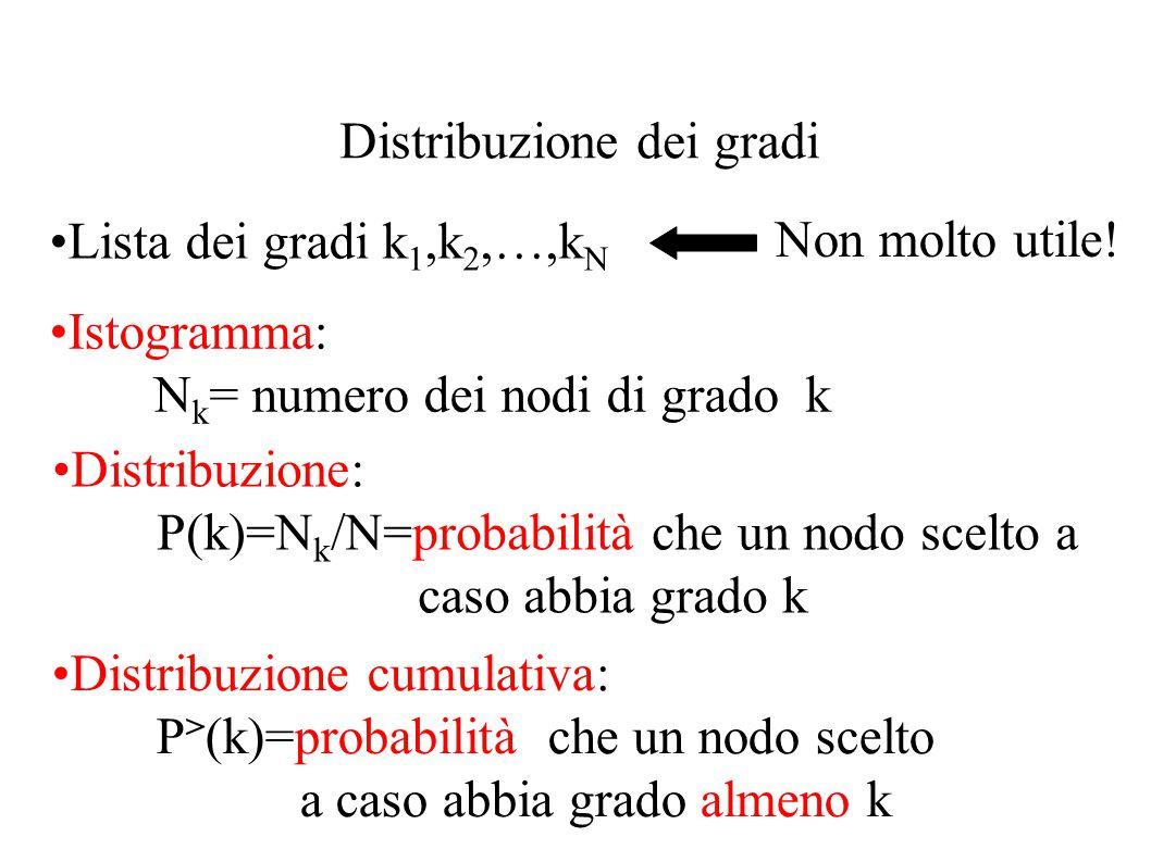 Distribuzione dei gradi Lista dei gradi k 1,k 2,…,k N Non molto utile! Istogramma: N k = numero dei nodi di grado k Distribuzione: P(k)=N k /N=probabi