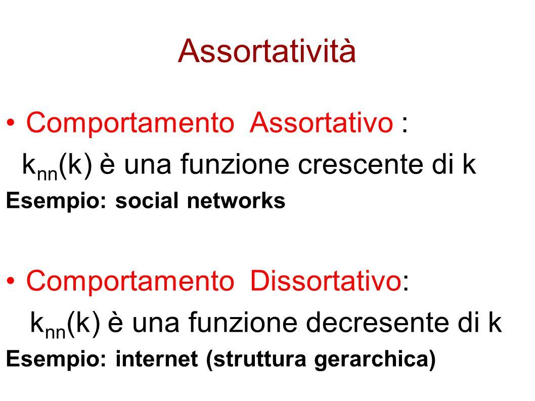 Assortatività Comportamento Assortativo : k nn (k) è una funzione crescente di k Esempio: social networks Comportamento Dissortativo: k nn (k) è una f