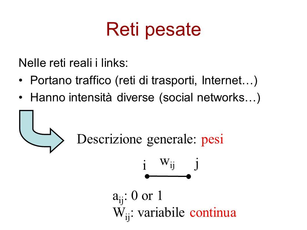 Reti pesate Nelle reti reali i links: Portano traffico (reti di trasporti, Internet…) Hanno intensità diverse (social networks…) Descrizione generale:
