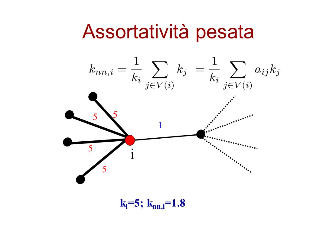 Assortatività pesata k i =5; k nn,i =1.8 1 5 5 5 5 i