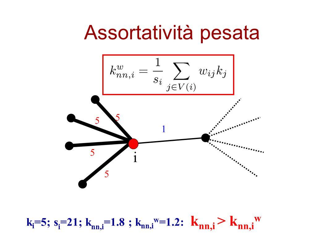 Assortatività pesata k i =5; s i =21; k nn,i =1.8 ; k nn,i w =1.2: k nn,i > k nn,i w 1 5 5 5 5 i