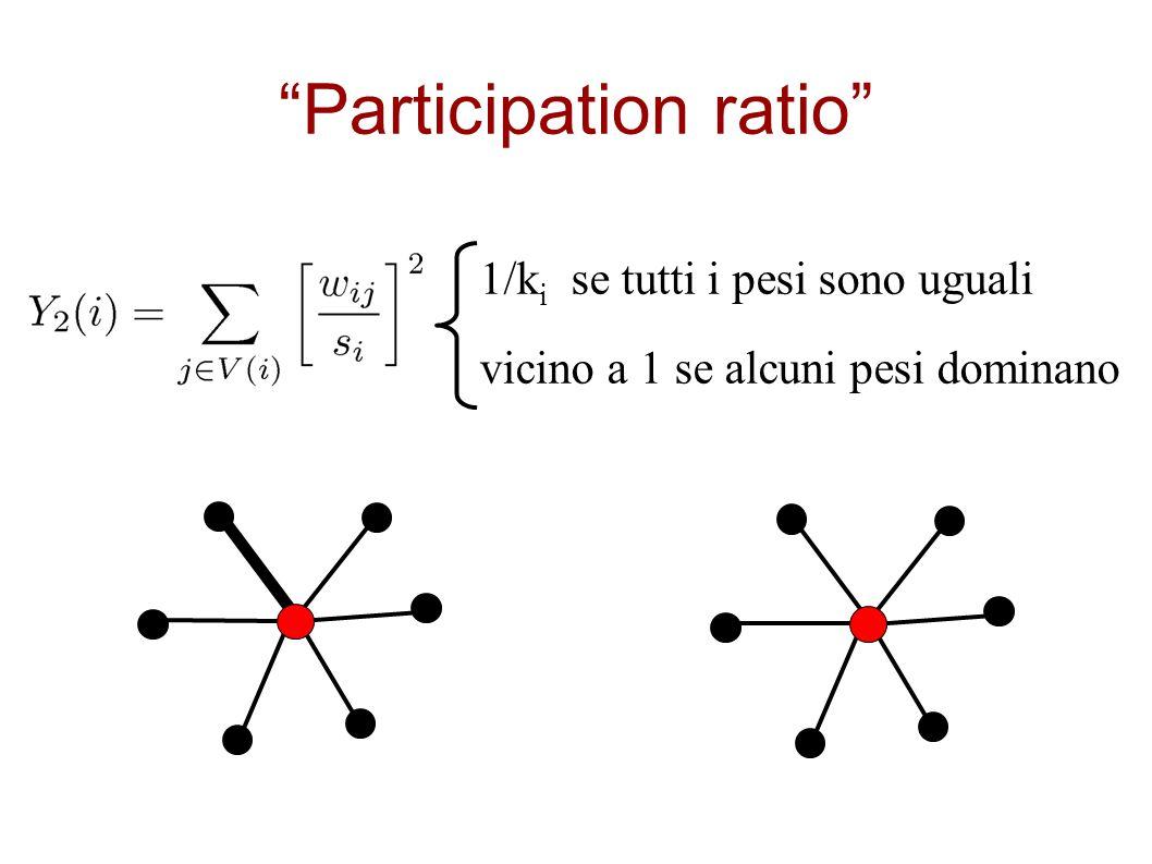 """""""Participation ratio"""" 1/k i se tutti i pesi sono uguali vicino a 1 se alcuni pesi dominano"""
