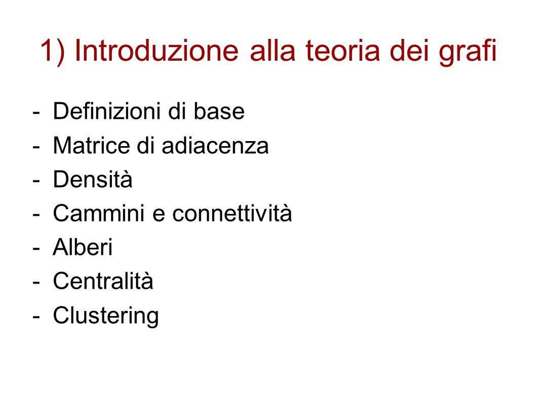 1) Introduzione alla teoria dei grafi -Definizioni di base -Matrice di adiacenza -Densità -Cammini e connettività -Alberi -Centralità -Clustering