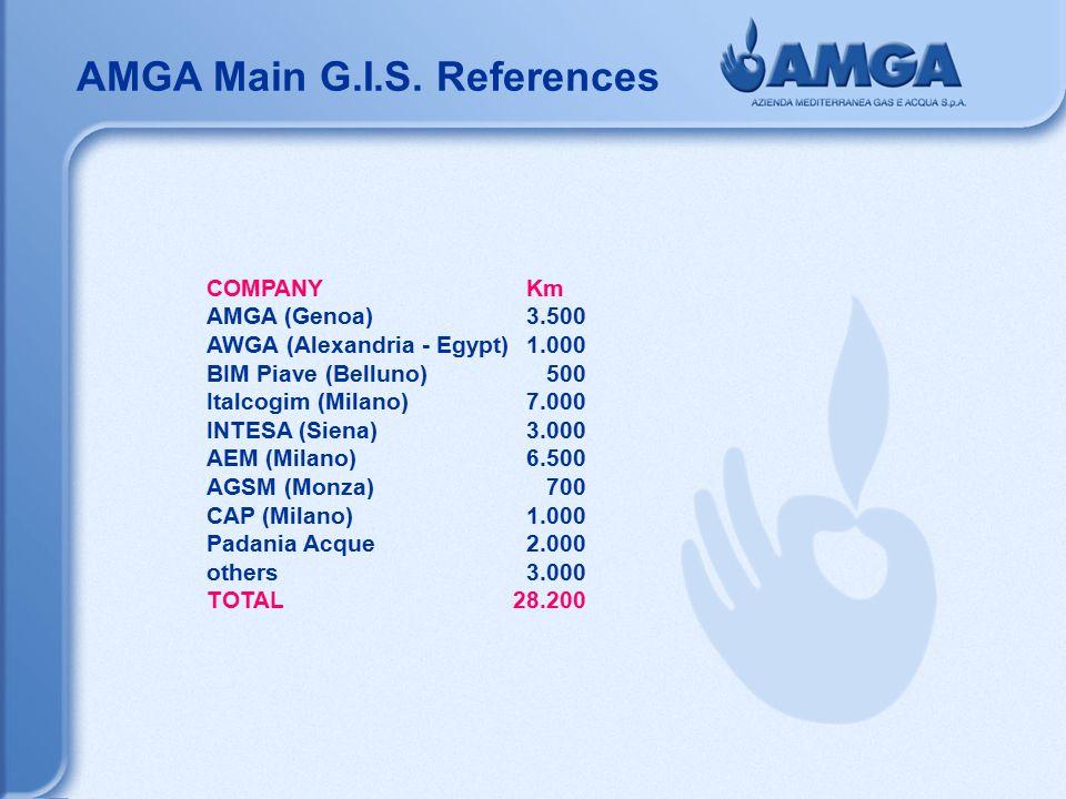 AMGA Main G.I.S. References COMPANYKm AMGA (Genoa)3.500 AWGA (Alexandria - Egypt)1.000 BIM Piave (Belluno) 500 Italcogim (Milano)7.000 INTESA (Siena)3