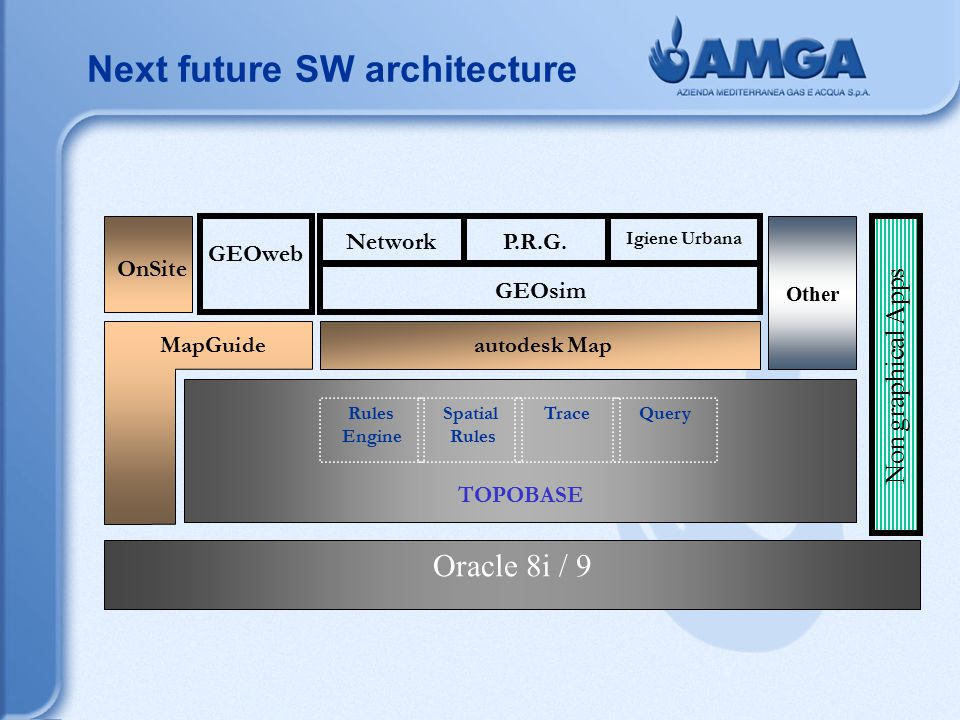 Oracle 8i / 9 TOPOBASE OnSite MapGuide autodesk Map QueryTraceSpatial Rules Engine GEOweb Non graphical Apps Other GEOsim NetworkP.R.G.