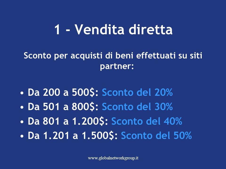 www.globalnetworkgroup.it 1 - Vendita diretta Sconto per acquisti di beni effettuati su siti partner: Da 200 a 500$: Sconto del 20% Da 501 a 800$: Sconto del 30% Da 801 a 1.200$: Sconto del 40% Da 1.201 a 1.500$: Sconto del 50%