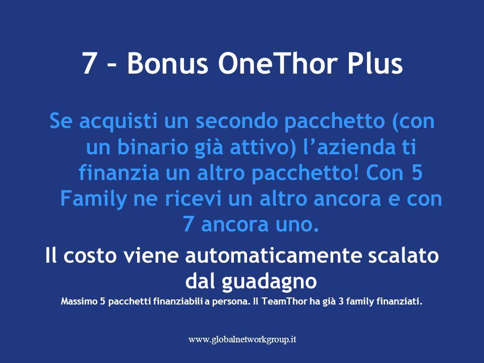 www.globalnetworkgroup.it 7 – Bonus OneThor Plus Se acquisti un secondo pacchetto (con un binario già attivo) l'azienda ti finanzia un altro pacchetto.