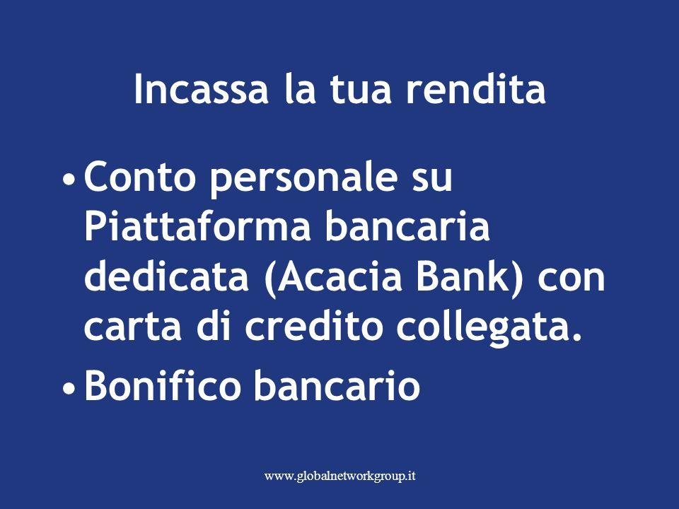www.globalnetworkgroup.it Incassa la tua rendita Conto personale su Piattaforma bancaria dedicata (Acacia Bank) con carta di credito collegata.