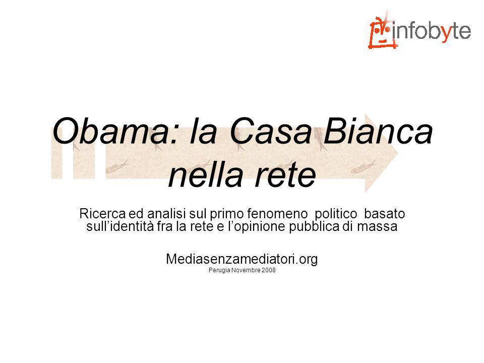 L'idea base Realizzare una ricerca sulle modalità di relazioni e di condivisione dello staff di Obama con il popolo della rete In altre parole, capire come il debuttante Obama sia emerso ed abbia vinto….