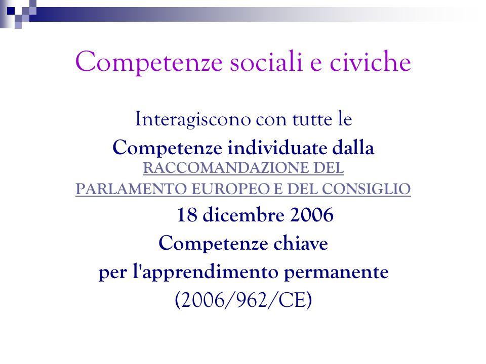 Dimensione Europea e Cittadinanza Democratica Perché tanto parlare di competenze sociali e civiche  ECD.
