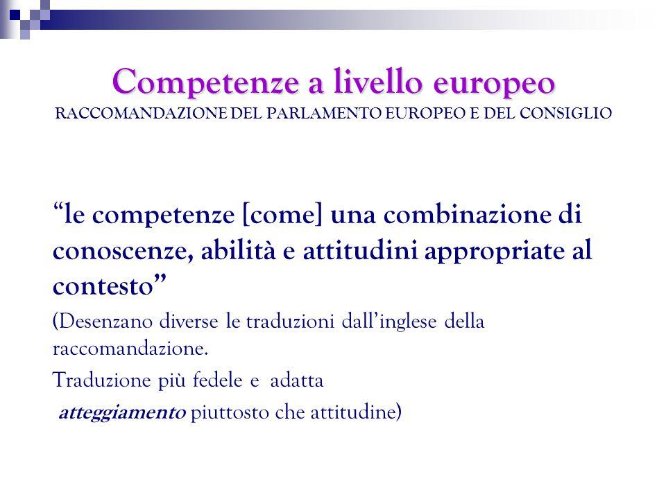 Competenze a livello europeo Competenze a livello europeo RACCOMANDAZIONE DEL PARLAMENTO EUROPEO E DEL CONSIGLIO le competenze [come] una combinazione di conoscenze, abilità e attitudini appropriate al contesto (Desenzano diverse le traduzioni dall'inglese della raccomandazione.