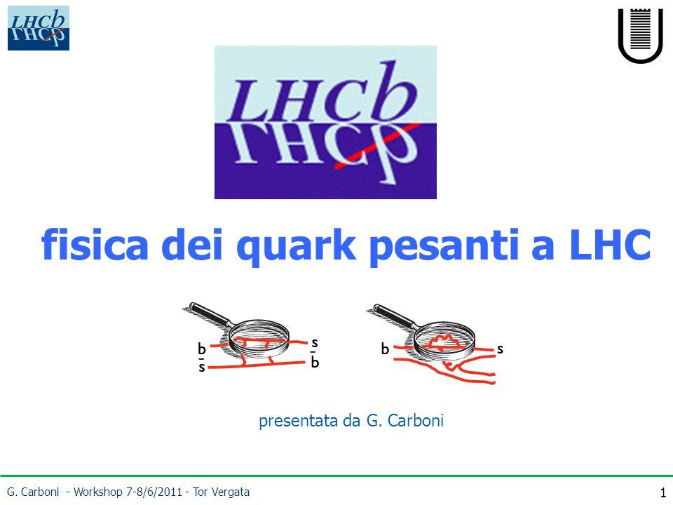 1 fisica dei quark pesanti a LHC G. Carboni - Workshop 7-8/6/2011 - Tor Vergata presentata da G.