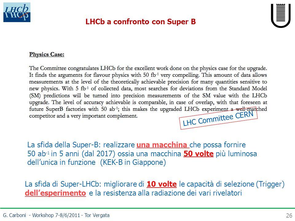 G. Carboni - Workshop 7-8/6/2011 - Tor Vergata 26 LHCb a confronto con Super B La sfida della Super-B: realizzare una macchina che possa fornire 50 ab