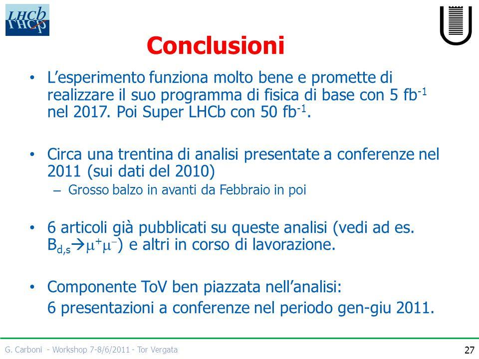 G. Carboni - Workshop 7-8/6/2011 - Tor Vergata 27 Conclusioni L'esperimento funziona molto bene e promette di realizzare il suo programma di fisica di