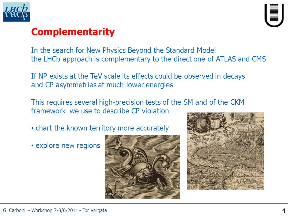 G. Carboni - Workshop 7-8/6/2011 - Tor Vergata 4 Complementarity In the search for New Physics Beyond the Standard Model the LHCb approach is compleme