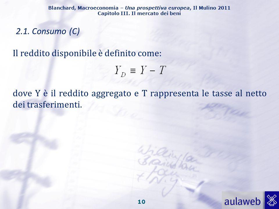 Blanchard, Macroeconomia – Una prospettiva europea, Il Mulino 2011 Capitolo III. Il mercato dei beni 9 Il parametro c 0 rappresenta il livello di cons