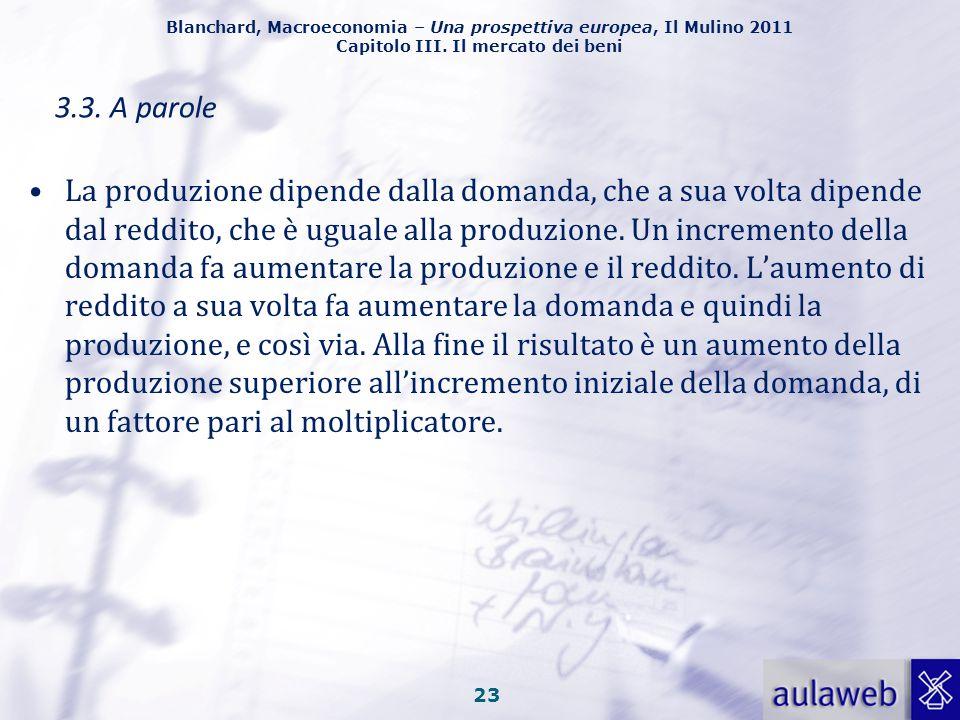 Blanchard, Macroeconomia – Una prospettiva europea, Il Mulino 2011 Capitolo III. Il mercato dei beni 22 3.2. Un grafico Seguendo questa logica, l'aume