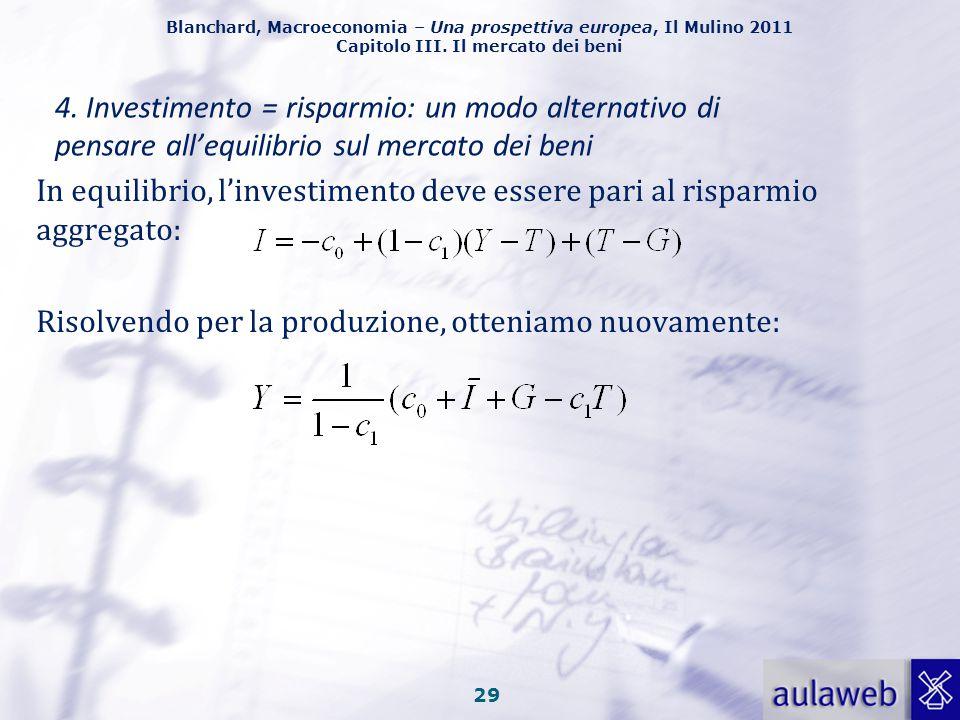 Blanchard, Macroeconomia – Una prospettiva europea, Il Mulino 2011 Capitolo III. Il mercato dei beni 28 Le decisioni di consumo e di risparmio sono in