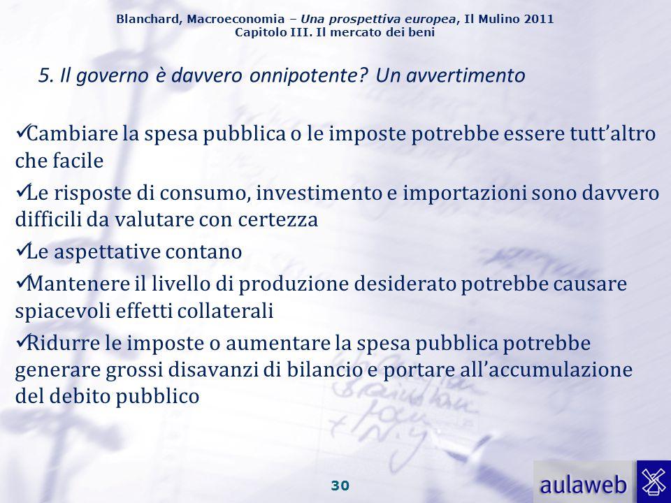 Blanchard, Macroeconomia – Una prospettiva europea, Il Mulino 2011 Capitolo III. Il mercato dei beni 29 In equilibrio, l'investimento deve essere pari