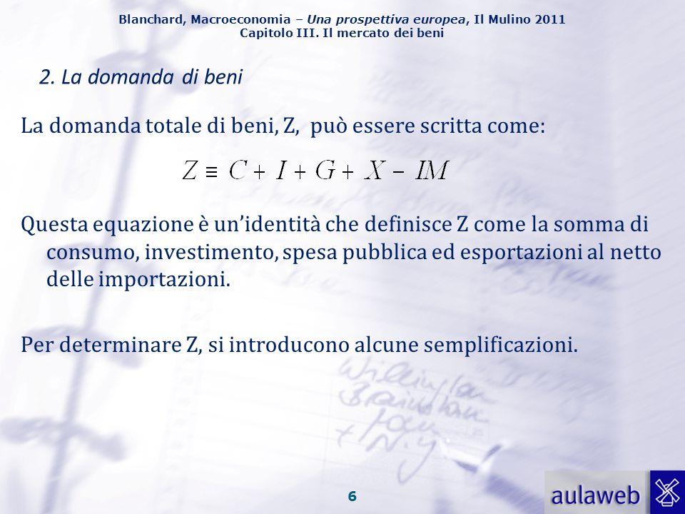 Blanchard, Macroeconomia – Una prospettiva europea, Il Mulino 2011 Capitolo III. Il mercato dei beni 5 Esportazioni nette, (X-IM) o saldo commerciale,