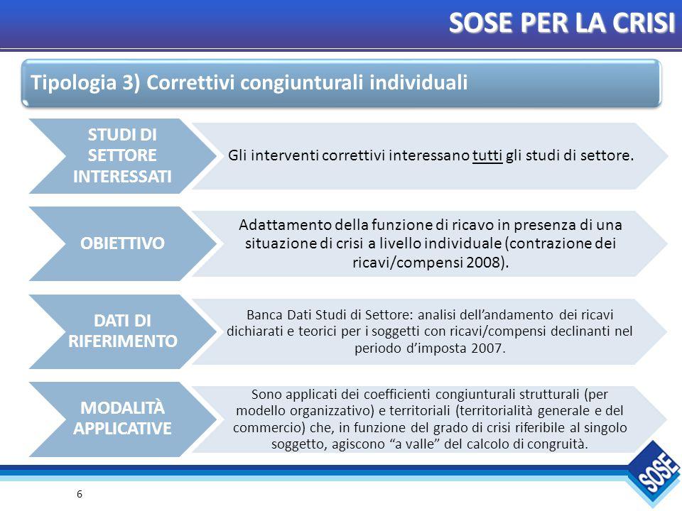 6 SOSE PER LA CRISI STUDI DI SETTORE INTERESSATI Gli interventi correttivi interessano tutti gli studi di settore.