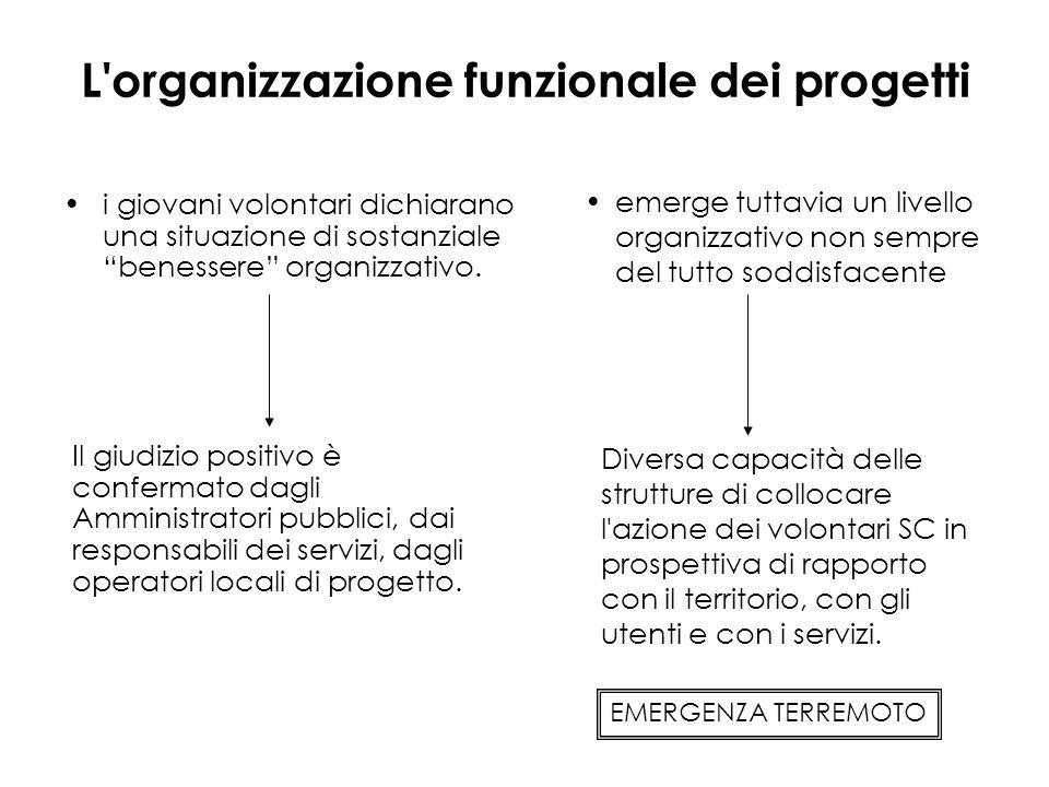 L organizzazione funzionale dei progetti i giovani volontari dichiarano una situazione di sostanziale benessere organizzativo.