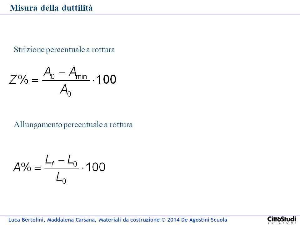 Luca Bertolini, Maddalena Carsana, Materiali da costruzione © 2014 De Agostini Scuola Misura della duttilità Allungamento percentuale a rottura Strizi