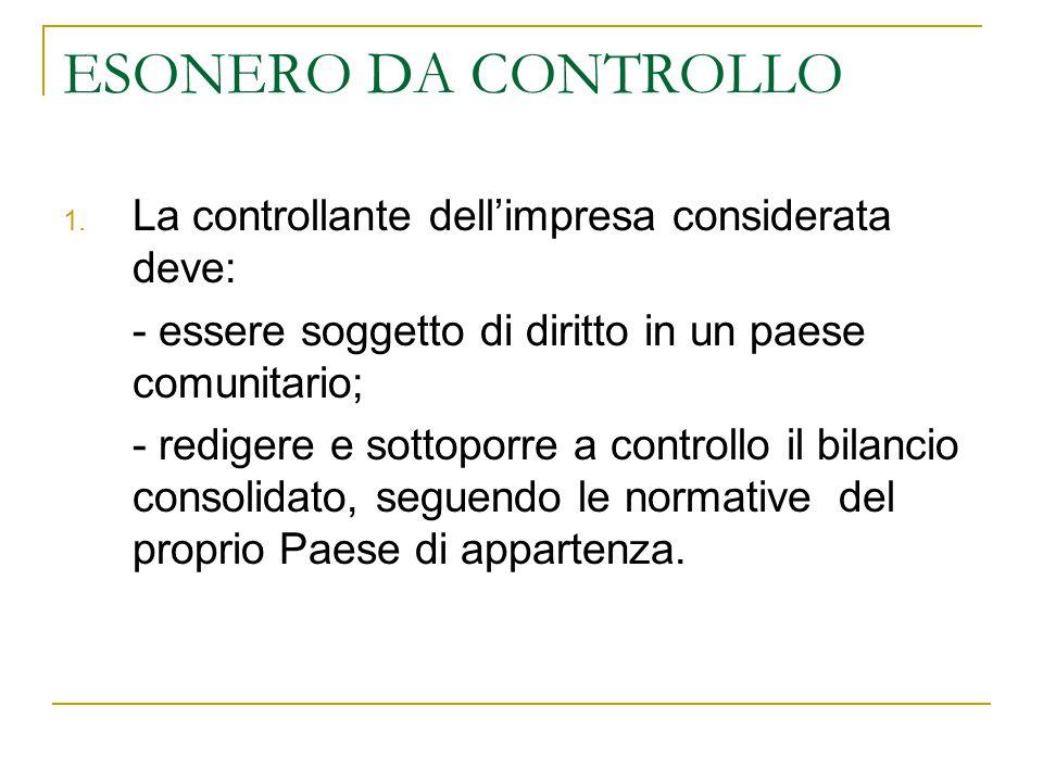 ESONERO DA CONTROLLO 1. La controllante dell'impresa considerata deve: - essere soggetto di diritto in un paese comunitario; - redigere e sottoporre a