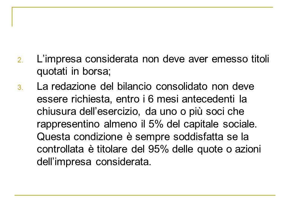 2. L'impresa considerata non deve aver emesso titoli quotati in borsa; 3. La redazione del bilancio consolidato non deve essere richiesta, entro i 6 m