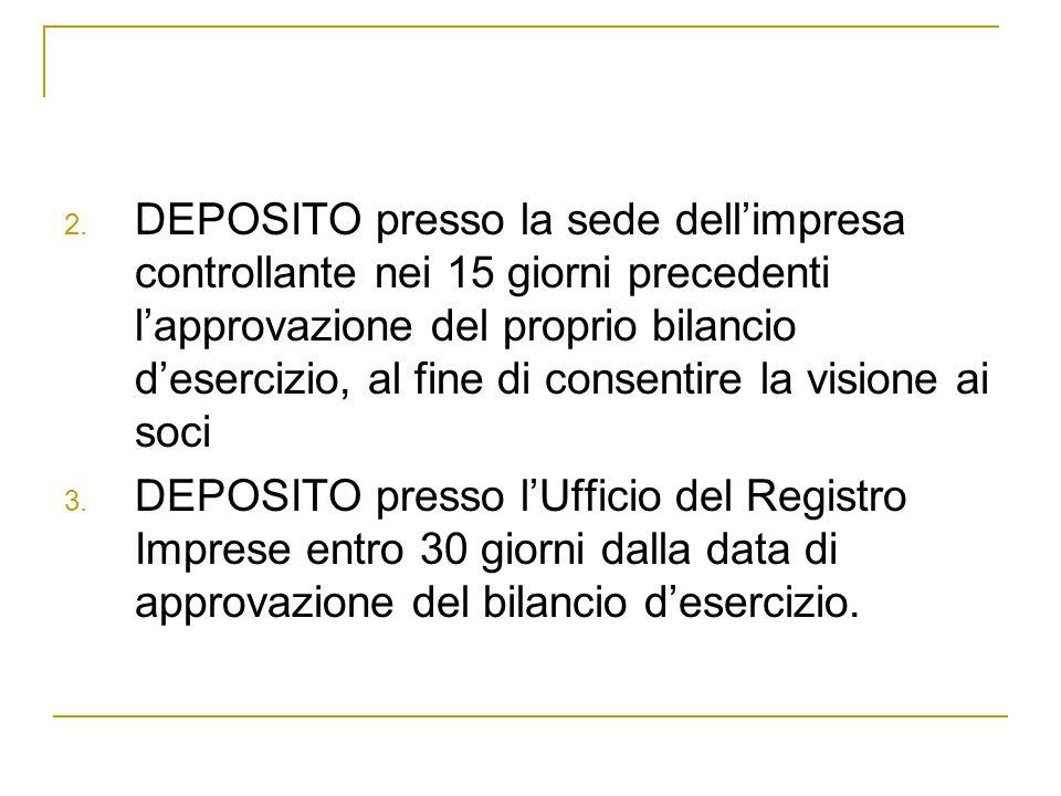 2. DEPOSITO presso la sede dell'impresa controllante nei 15 giorni precedenti l'approvazione del proprio bilancio d'esercizio, al fine di consentire l