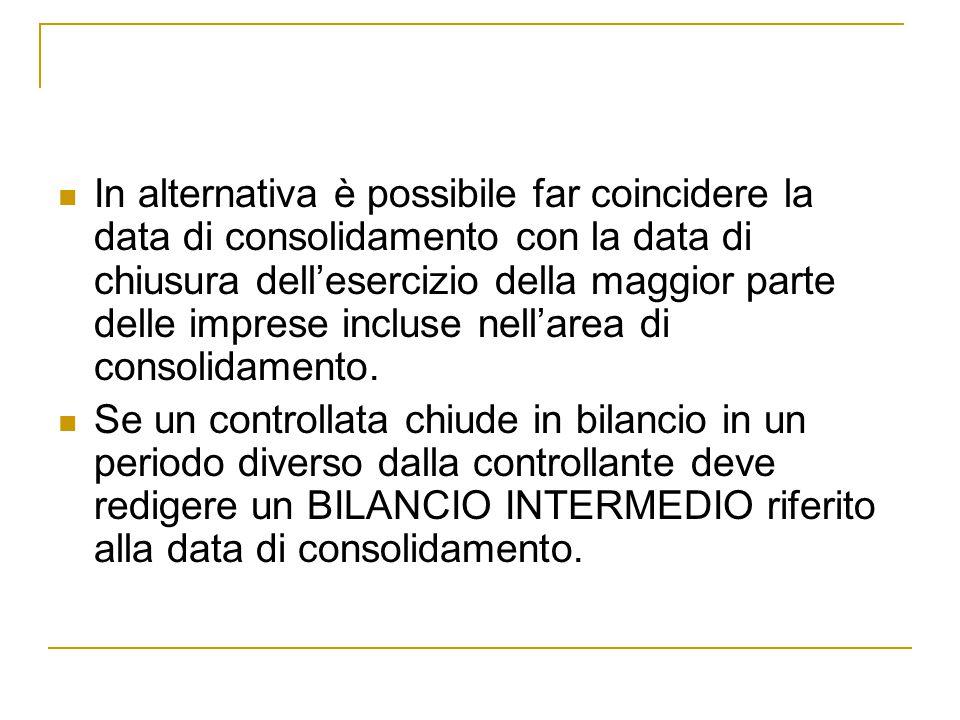 In alternativa è possibile far coincidere la data di consolidamento con la data di chiusura dell'esercizio della maggior parte delle imprese incluse n