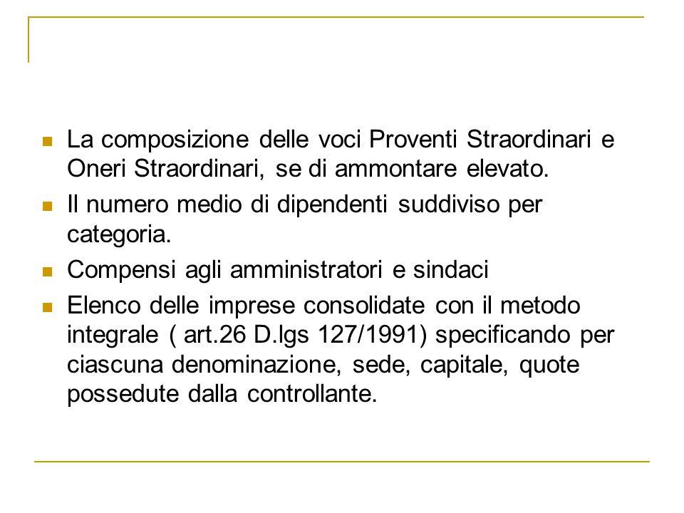 La composizione delle voci Proventi Straordinari e Oneri Straordinari, se di ammontare elevato. Il numero medio di dipendenti suddiviso per categoria.
