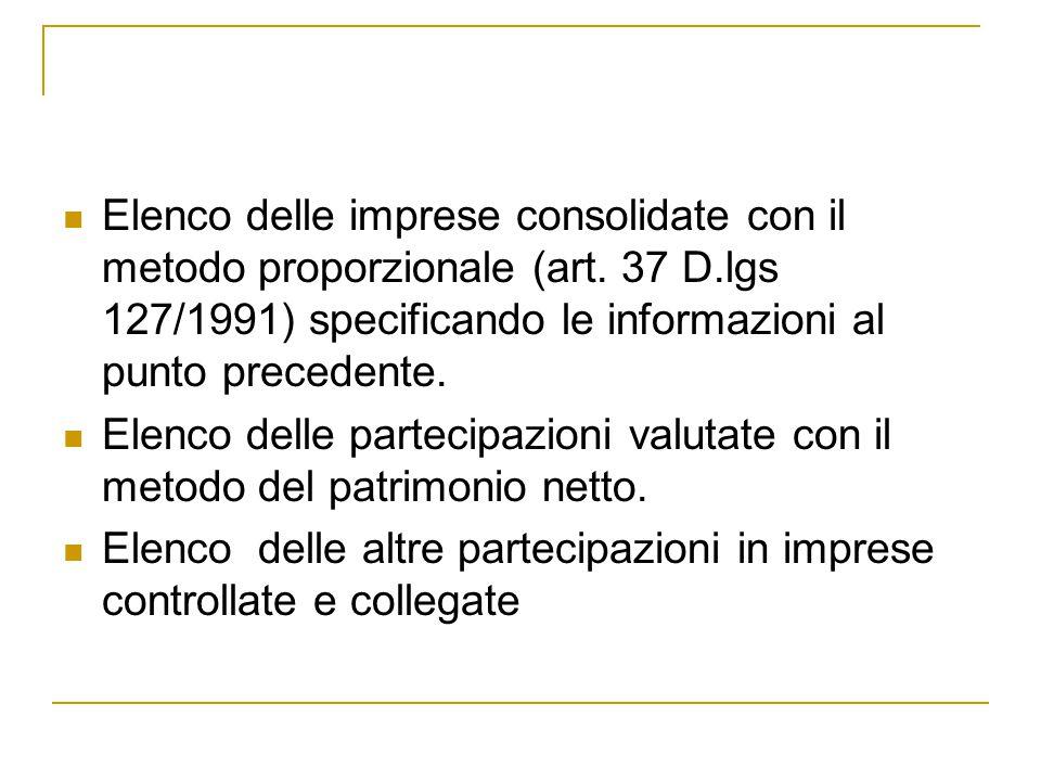 Elenco delle imprese consolidate con il metodo proporzionale (art. 37 D.lgs 127/1991) specificando le informazioni al punto precedente. Elenco delle p