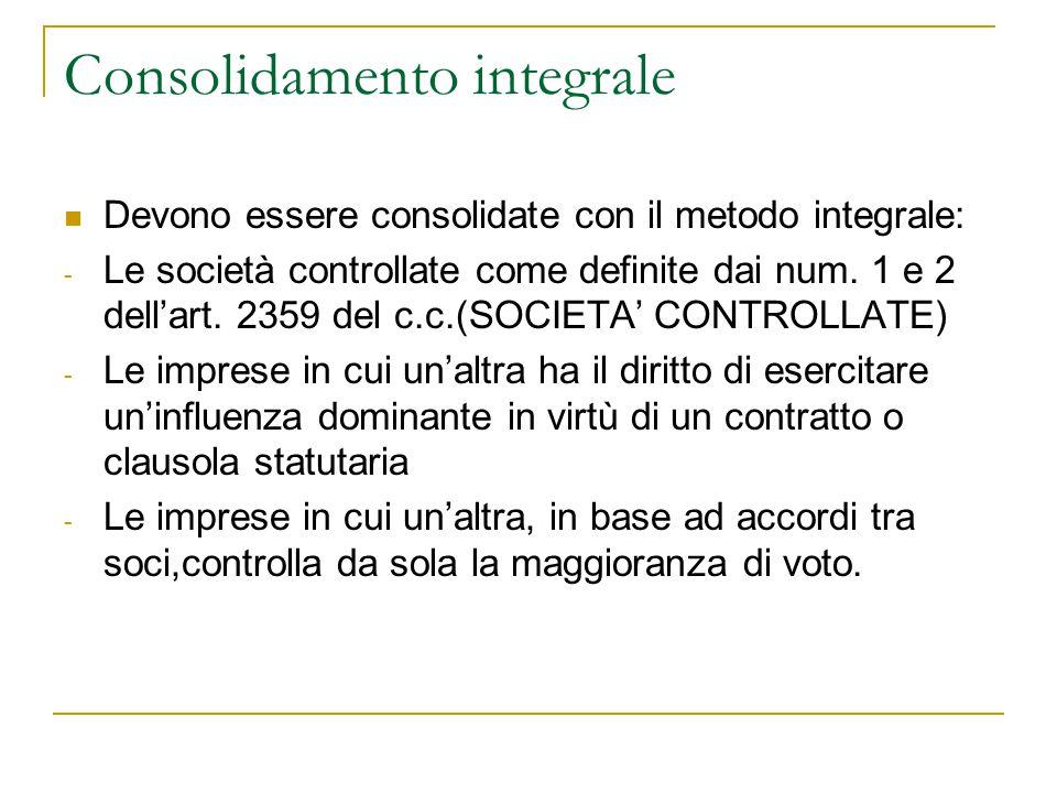 Consolidamento integrale Devono essere consolidate con il metodo integrale: - Le società controllate come definite dai num. 1 e 2 dell'art. 2359 del c