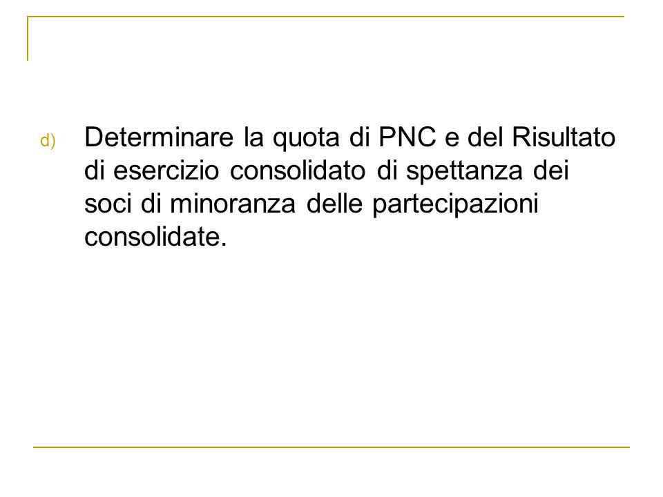 d) Determinare la quota di PNC e del Risultato di esercizio consolidato di spettanza dei soci di minoranza delle partecipazioni consolidate.