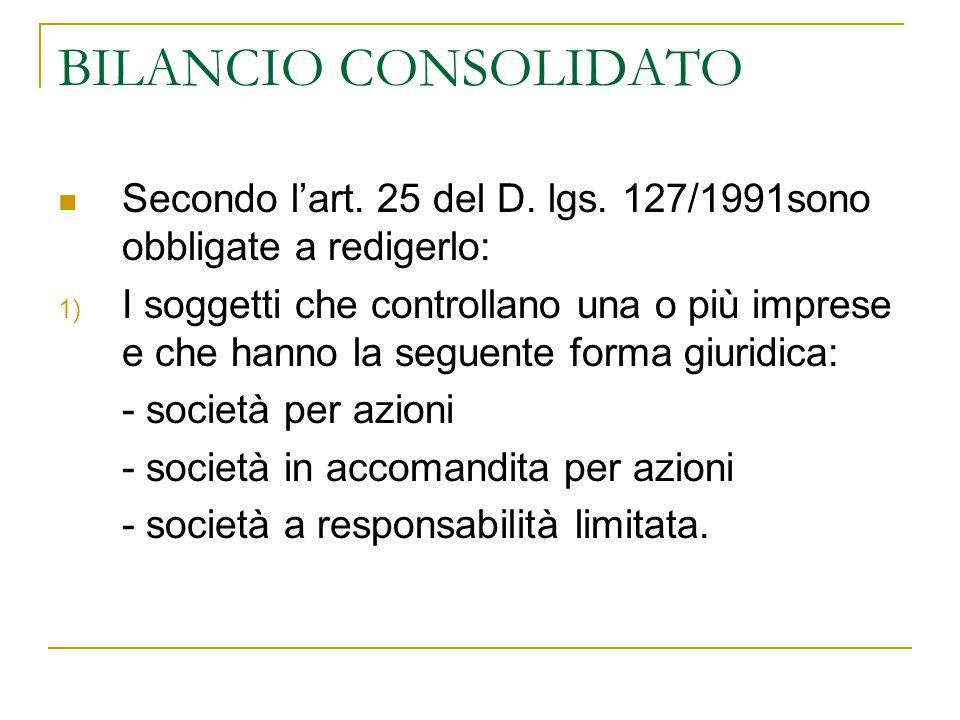 BILANCIO CONSOLIDATO Secondo l'art. 25 del D. lgs. 127/1991sono obbligate a redigerlo: 1) I soggetti che controllano una o più imprese e che hanno la