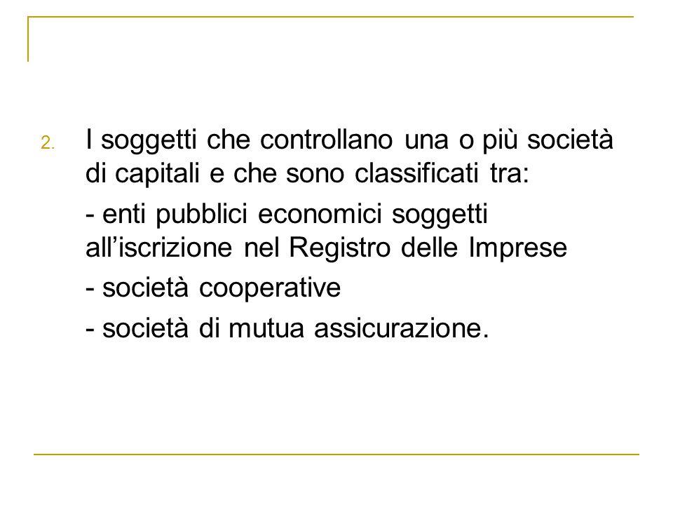 2. I soggetti che controllano una o più società di capitali e che sono classificati tra: - enti pubblici economici soggetti all'iscrizione nel Registr