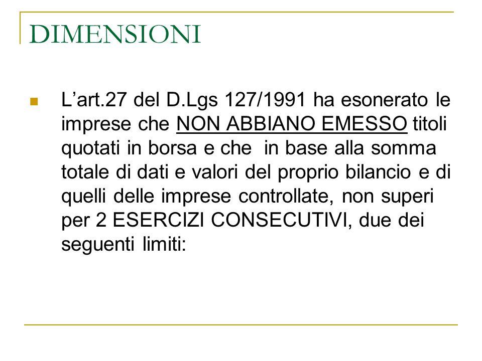 DIMENSIONI L'art.27 del D.Lgs 127/1991 ha esonerato le imprese che NON ABBIANO EMESSO titoli quotati in borsa e che in base alla somma totale di dati