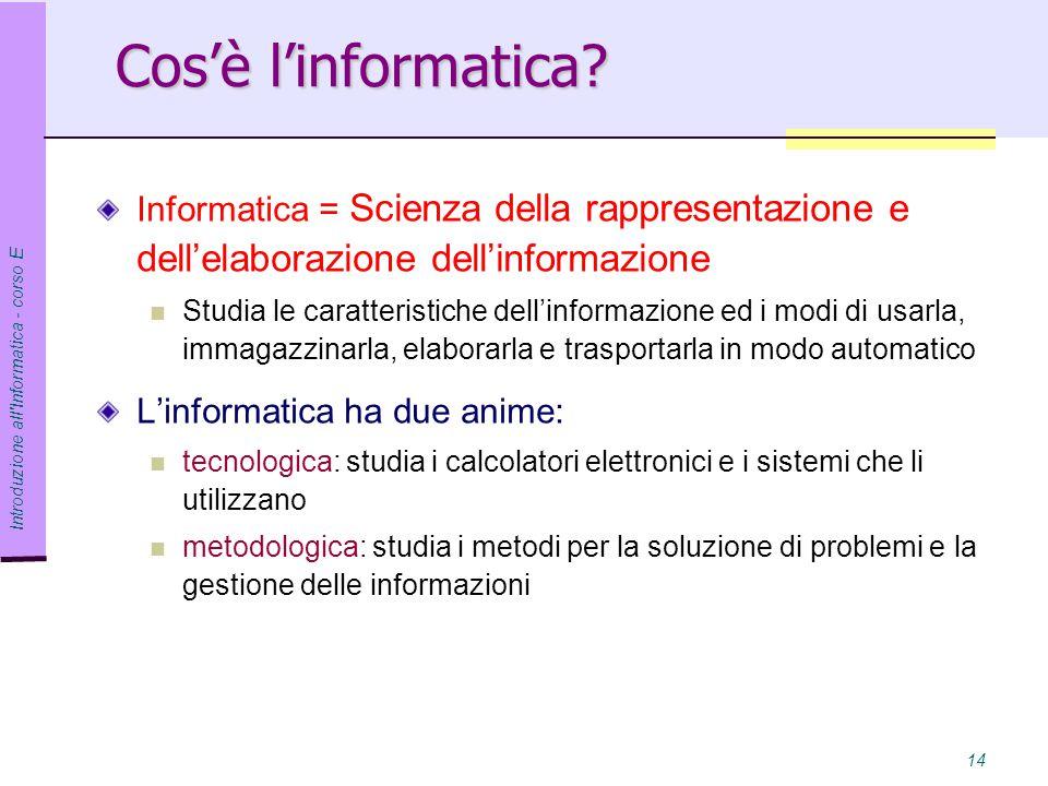 Introduzione all Informatica - corso E 14 Cos'è l'informatica.