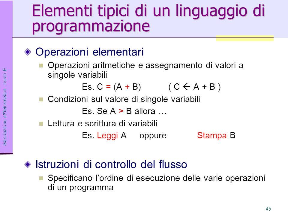 Introduzione all Informatica - corso E 45 Elementi tipici di un linguaggio di programmazione Operazioni elementari Operazioni aritmetiche e assegnamento di valori a singole variabili Es.