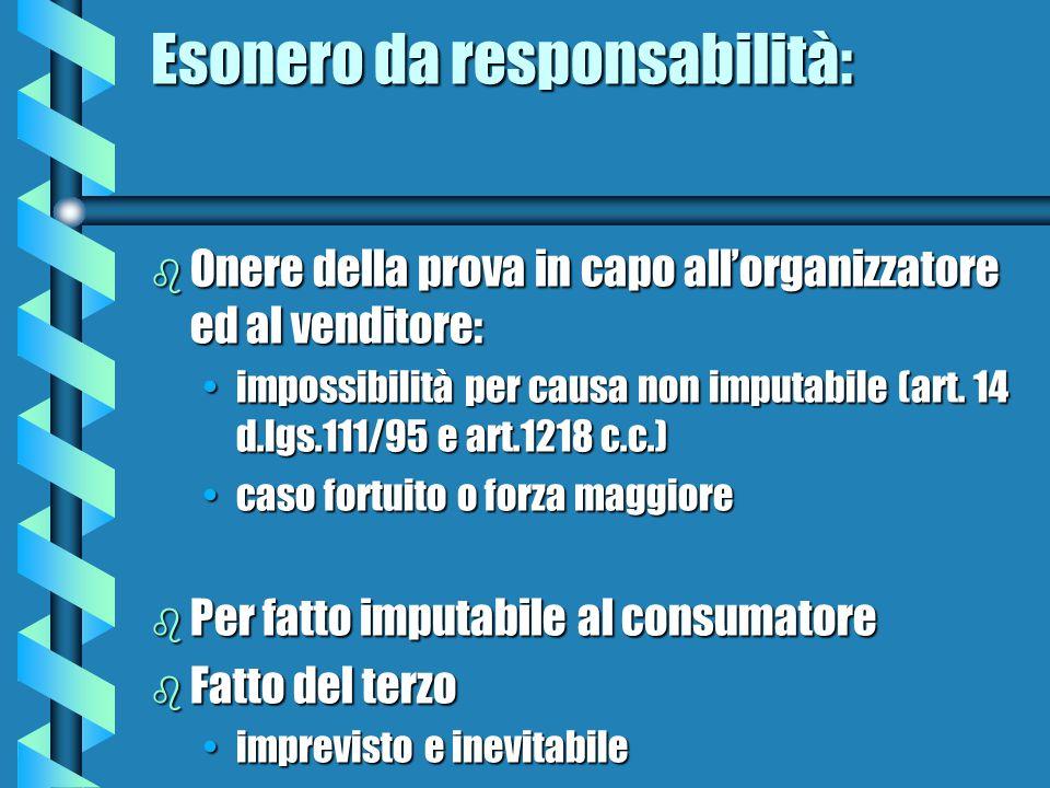 Esonero da responsabilità: b Onere della prova in capo all'organizzatore ed al venditore: impossibilità per causa non imputabile (art.