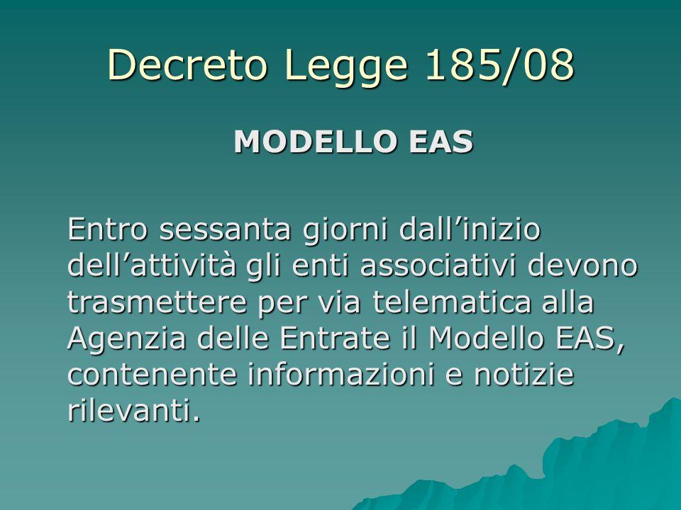 Decreto Legge 185/08 MODELLO EAS Entro sessanta giorni dall'inizio dell'attività gli enti associativi devono trasmettere per via telematica alla Agenz