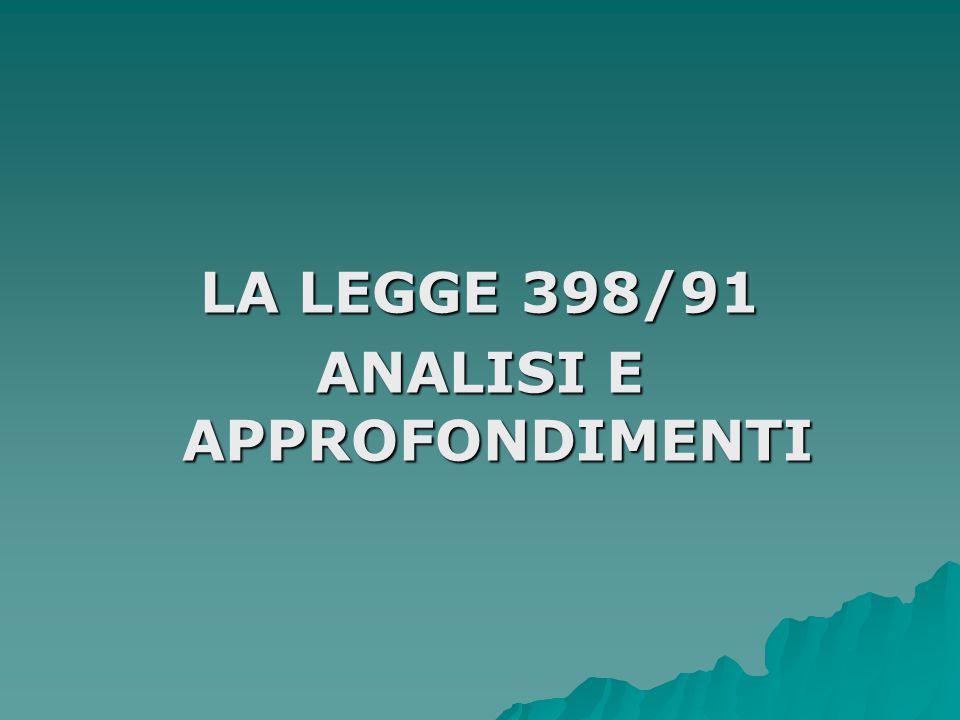 LA LEGGE 398/91 ANALISI E APPROFONDIMENTI