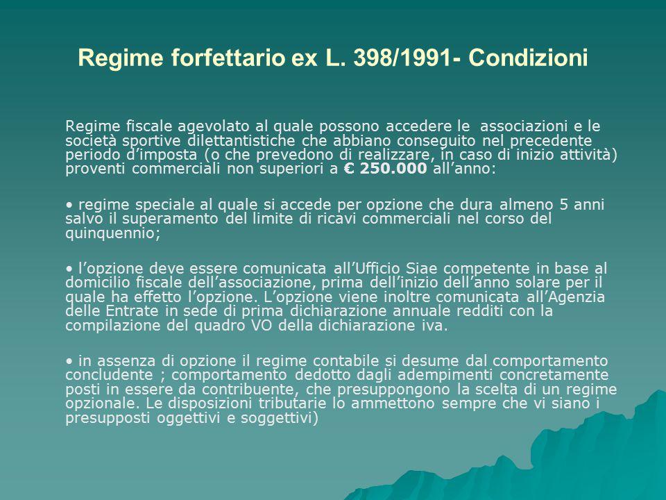 Regime forfettario ex L. 398/1991- Condizioni Regime fiscale agevolato al quale possono accedere le associazioni e le società sportive dilettantistich
