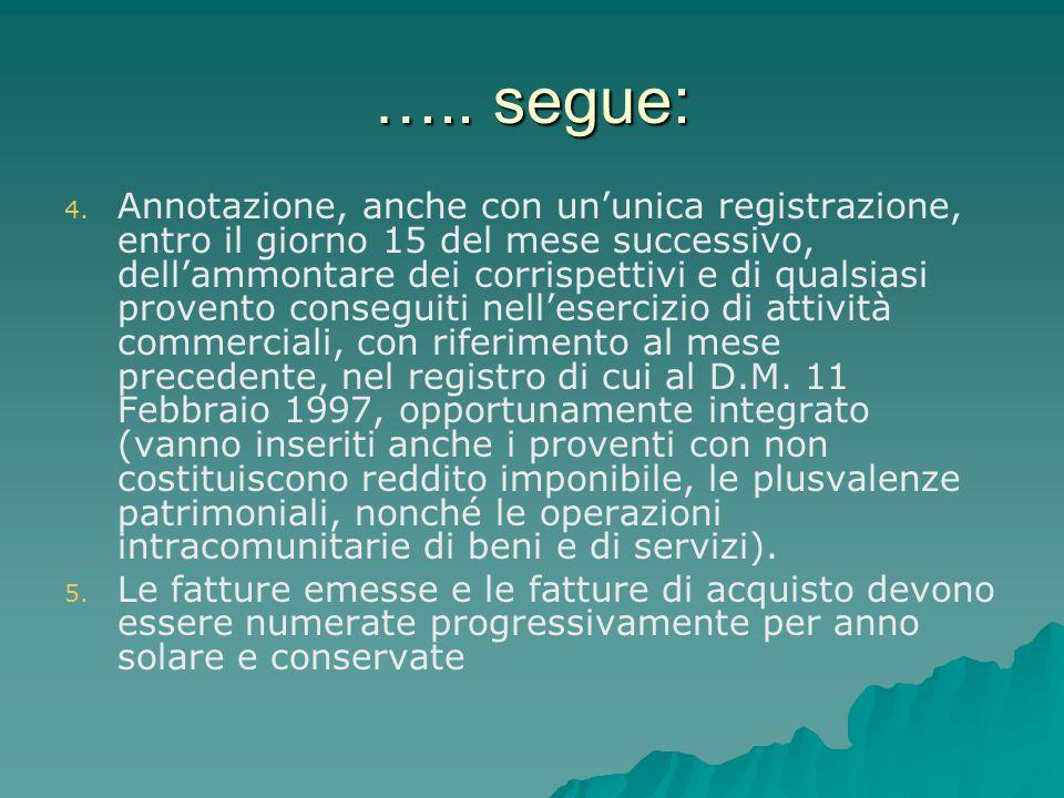 ….. segue: 4. 4. Annotazione, anche con un'unica registrazione, entro il giorno 15 del mese successivo, dell'ammontare dei corrispettivi e di qualsias