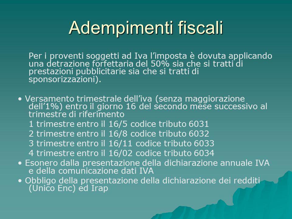 Adempimenti fiscali Per i proventi soggetti ad Iva l'imposta è dovuta applicando una detrazione forfettaria del 50% sia che si tratti di prestazioni p