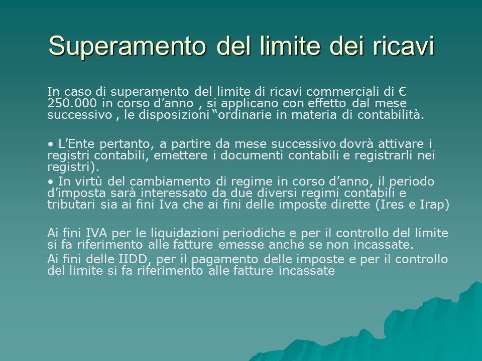 Superamento del limite dei ricavi In caso di superamento del limite di ricavi commerciali di € 250.000 in corso d'anno, si applicano con effetto dal m