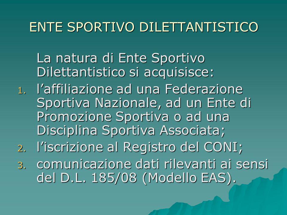 ENTE SPORTIVO DILETTANTISTICO La natura di Ente Sportivo Dilettantistico si acquisisce: 1. l'affiliazione ad una Federazione Sportiva Nazionale, ad un